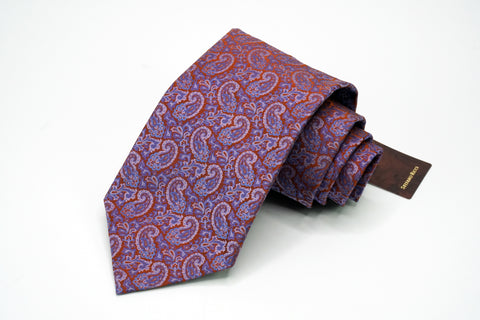 Luxury Collection By Stefano Ricci 100% Silk Necktie Fuchsia Paisley Pattern Stefano Ricci Ties