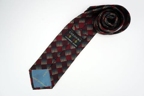 Alexander Julian Necktie All Silk Checkered Pattern Red/Blue Alexander Julian Ties