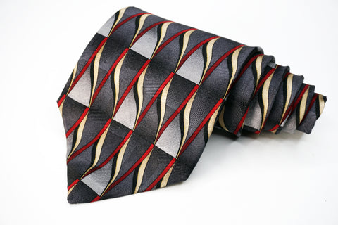 Savile Row Tie Blue/Red Silk Geometric Pattern