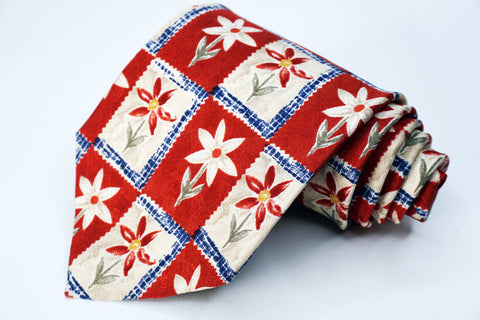Jos A Bank Tie Red/White Silk Floral Pattern