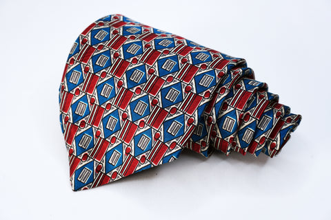 Statement Tie Reb/Blue Silk Geometric Pattern