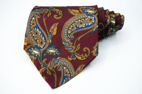 Lord Ascot Tie Red Silk Paisley Pattern