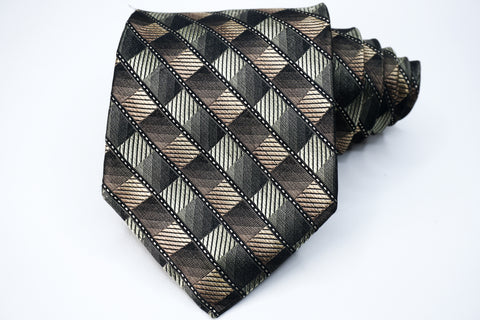 Platinum Designs Tie Pewter Silk Geometric Pattern