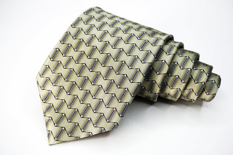 Arrow Tie Tan Silk Geometric Pattern