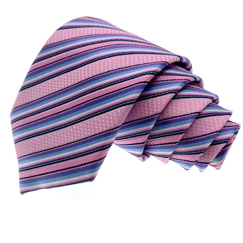 Knot Around Your Neck Tie Pink Striped Pattern