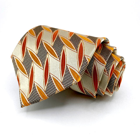 Martin Wong Tie Beige Orange Geometric Pattern