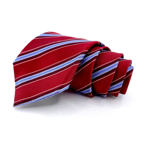 Tasso Elba Tie Red Silk Striped Pattern