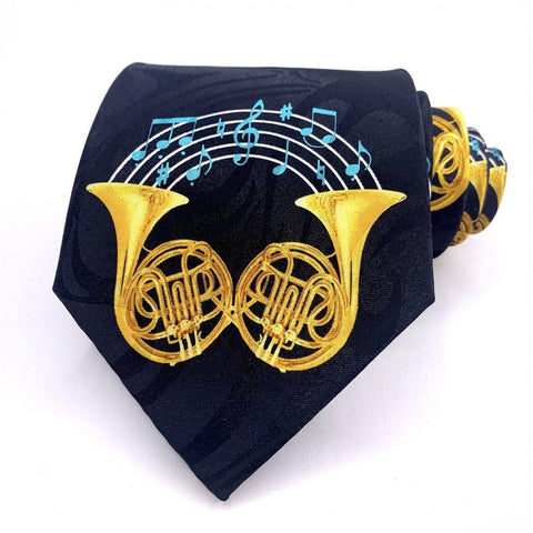 Fratello Tie Multi-Color French Horns Pattern