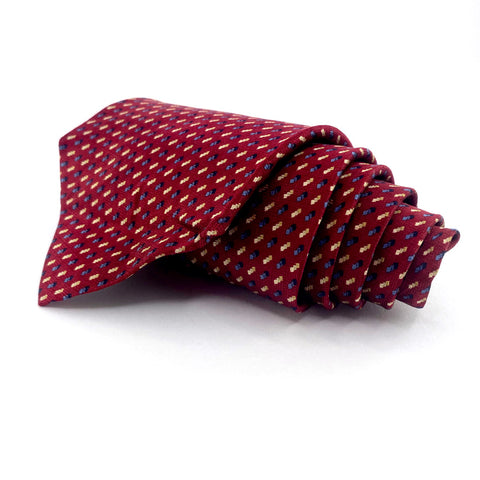 Jos A. Bank Tie Red Silk Geometric Pattern