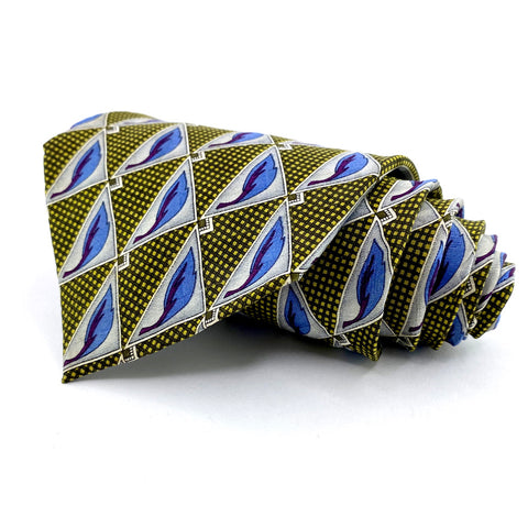 Britches of Georgetowne Tie Gold/Blue Geometric Pattern