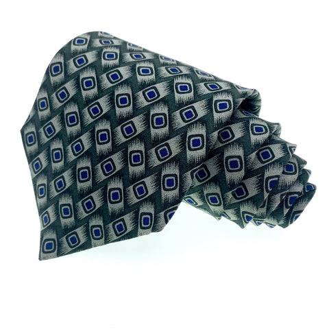 Structure Tie Blue/Grey Silk Geometric Pattern