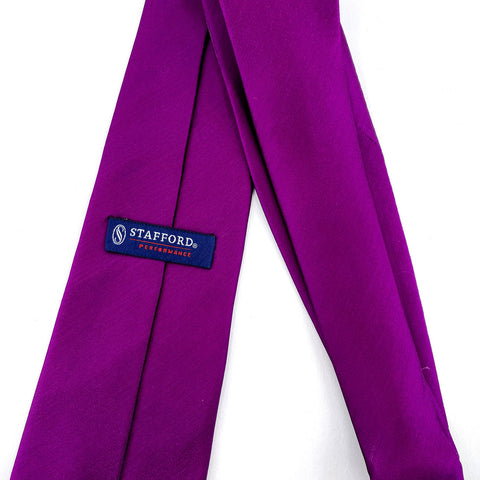 Stafford Tie Purple Metallic Silk Solid Pattern