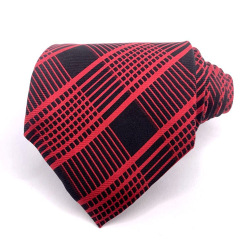 Bijoux Terner Tie Red/Black Silk Geometric Pattern