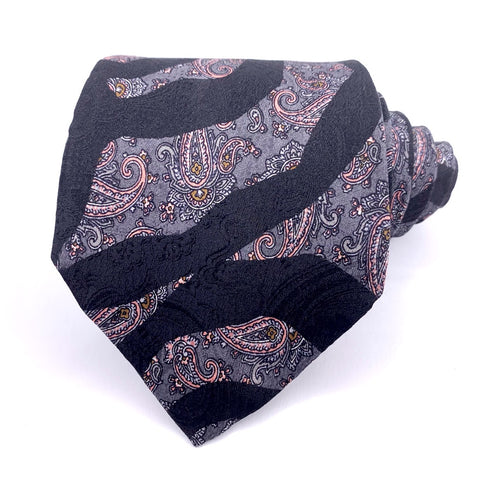 xAndrini Tie Black Silk Geometric Pattern