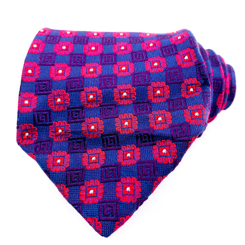 Hugo Boss Tie Silk Fushia/Blue Geometric Pattern