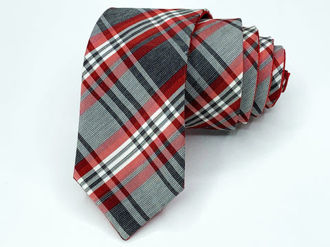 Alfani Tie Reversible Red / Plaid Pattern Skinny Ties Alfani