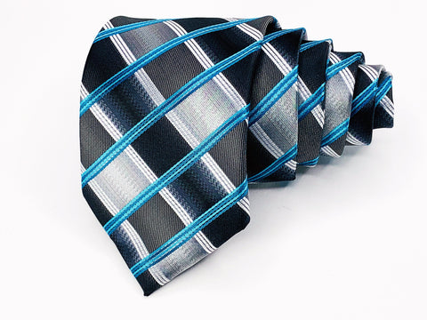 Alexander Julian Colours Tie Silk Blue Plaids Checks Pattern