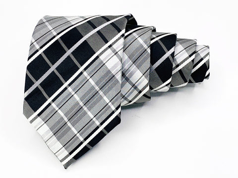 Alexander Julian Colours Tie Black White Plaid Pattern
