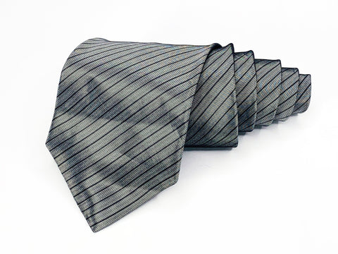 Alfani Tie Silk Silver Gray Striped Pattern Ties Alfani