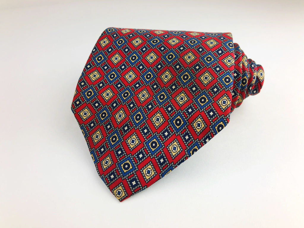 f9eb0382fd5e Christian Dior Silk Tie Red and Blue Geometric Pattern Christian Dior Ties  ...