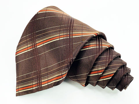 Alfani Tie All Silk Brown Plaids and Checks Pattern