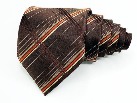 Alfani Tie All Silk Brown Plaids and Checks Pattern Ties Alfani