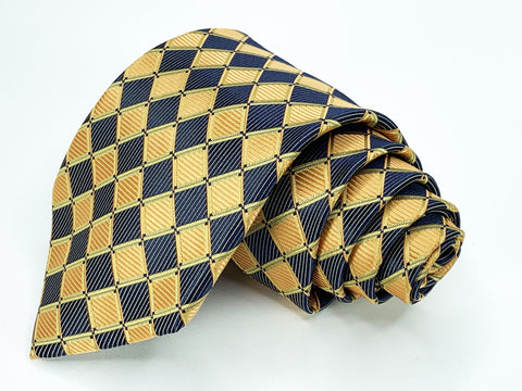 Alexander Julian Tie Purple/Gold Geometric Pattern