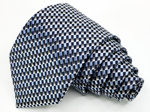 Alexander Julian Tie Blue/Black Geometric Pattern