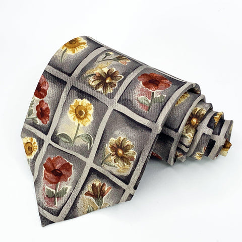 Alexander Julian Tie Multi Color Silk Floral Pattern