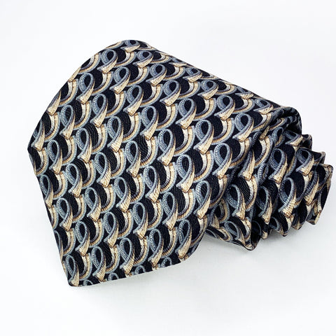 Barneys Tie Black/Silver Silk Geometric Pattern