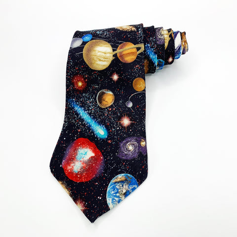 Museum Artifacts Tie Black Silk Galaxy Pattern