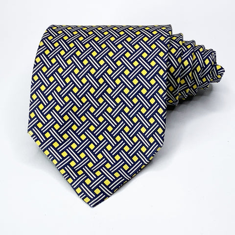 Barneys New York Tie Yellow/Blue Silk Geometric Pattern