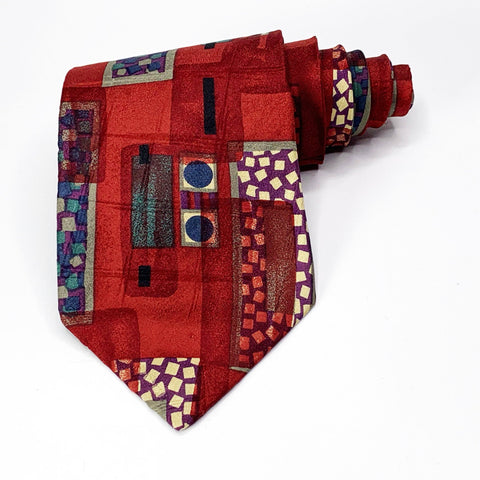 Bugatti Tie Red Silk Abstract Pattern