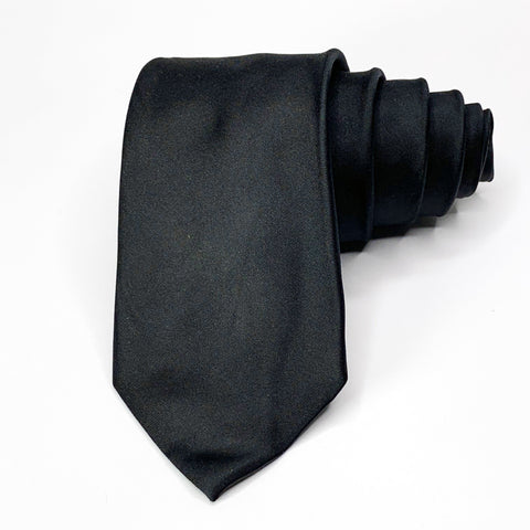 Express Tie Black Silk Solid Pattern