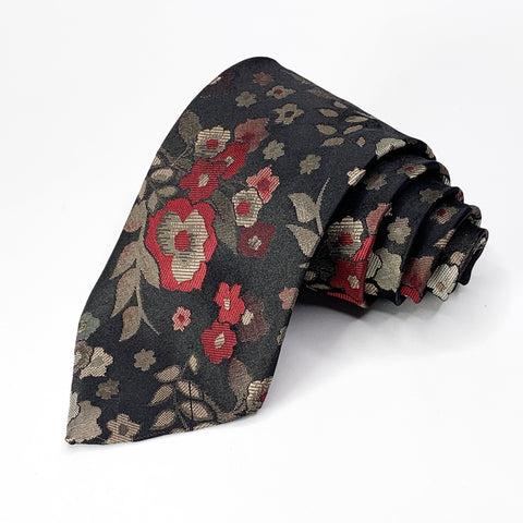 Wembley Tie Black Floral Pattern
