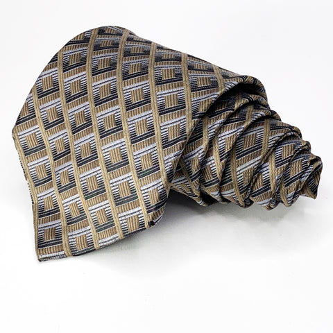 Paul Dione Tie Taupe Silk Geometric Pattern