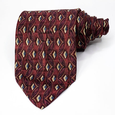 Harold Powell Tie Red Silk Geometric Pattern