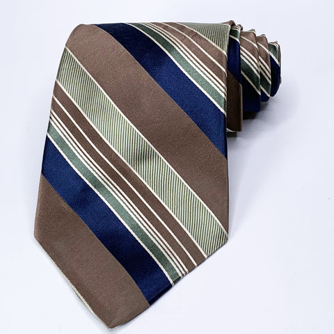 Lord & Taylor Tie Pewter Silk Striped Pattern