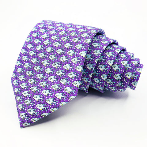 Vineyard Vines Tie Purple Silk Omimental Pattern