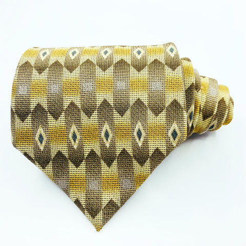Ketch Tie Beige Silk Geometric Pattern