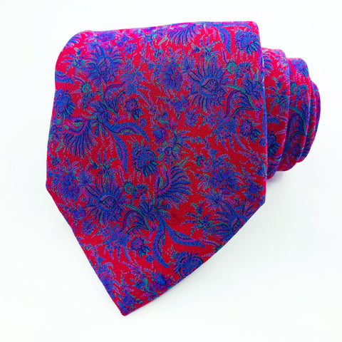 Valentino Cravatte Tie Blue/Red Silk Floral Pattern