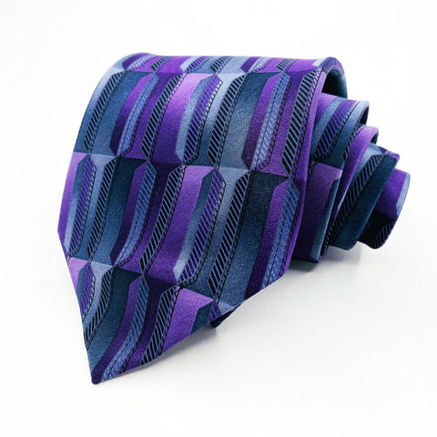 Van Heusen Tie Purple Silk geomatric Pattern