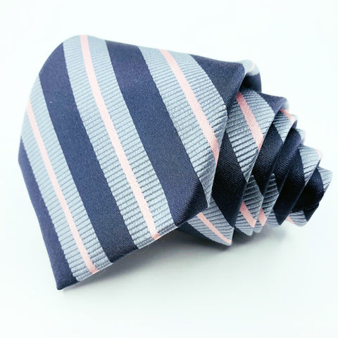 Merona Tie Blue Grey Silk Striped Pattern