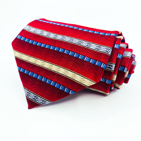 Van Heusen Tie Red Silk Striped Pattern