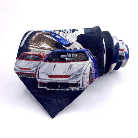 Fratello Tie Race Car Pattern Black New