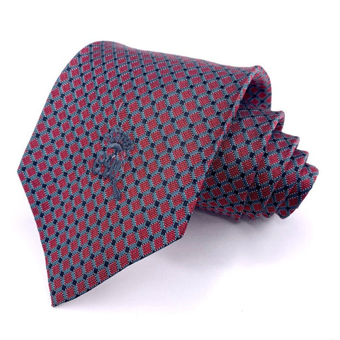 Countess Mara Tie Red Silk geometric Pattern