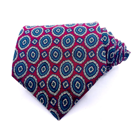 Robert Stock Tie Red Geometric Pattern Extra-Long