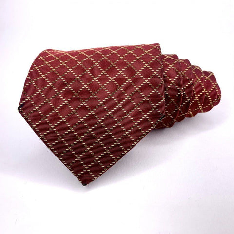 Brooks Brothers Tie Red Silk Geometric Pattern