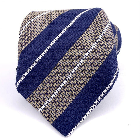 Cesare Attolini Napoli Tie Beige Blue Silk Striped Pattern