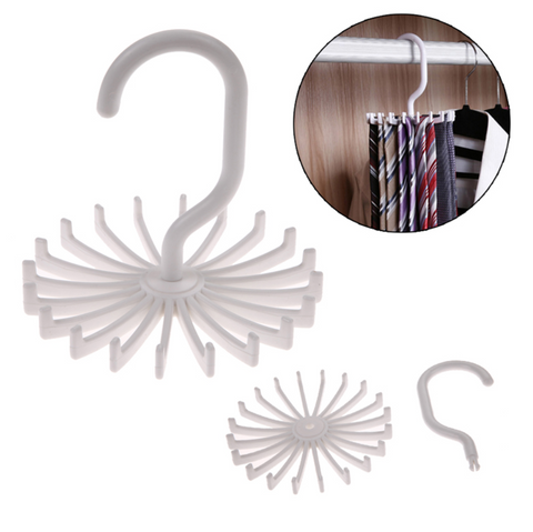 Neck Tie Storage Hanger Holds 20 Ties Plastic White 2 Pack Knot Around Your Neck Storage